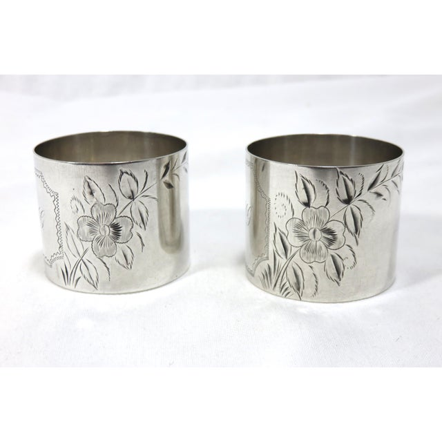 Traditional Large Antique Sterling Silver Napkin Rings - A Pair For Sale - Image 3 of 7