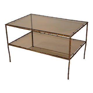 French Bronze Faux Bamboo Coffee or Side Tables - A Pair