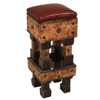 Circa 1960 Hand Carved Hammered Metal Bar Stool For Sale