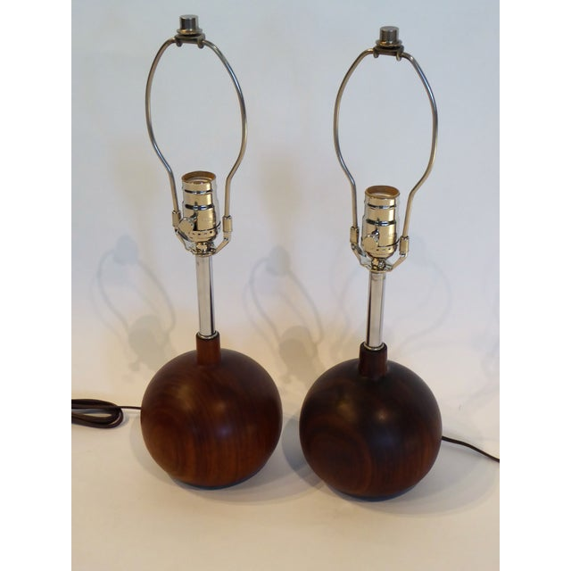 Brown Danish Modern 1960s Brazilian Rosewood Orb Table Lamps Denmark - a Pair For Sale - Image 8 of 8