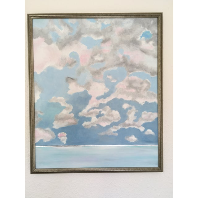 Wood Pink Cloud Sky Original Painting by Natalie Mitchell For Sale - Image 7 of 7
