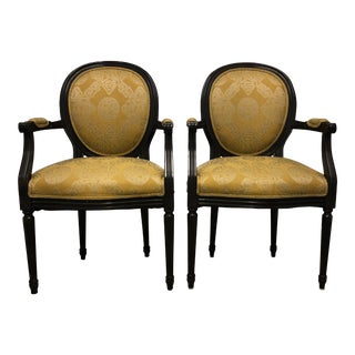 1960s Vintage Trouvailles Inc. Yellow Upholstered Wooden Arm Chairs- A Pair For Sale