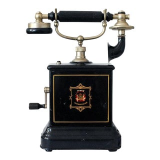 Early 20th Century Antique Danish Hand Crank Telephone For Sale