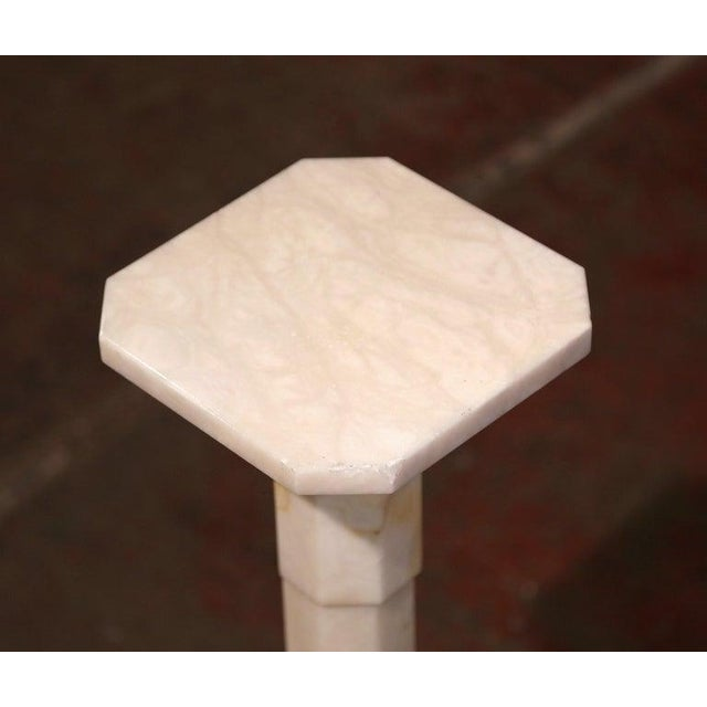Early 20th Century French Carved Beige Marble Pedestal Table With Swivel Top For Sale In Dallas - Image 6 of 7