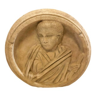 Ancient Roman Carved Marble Roundel For Sale