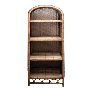 1970s Woven Wicker Arched 4 Tiered Buri Etagere in the Manner of Danny Ho Fong For Sale