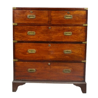 Irish Early Victorian Mahogany Campaign Chest by Ross and Company, Dublin For Sale