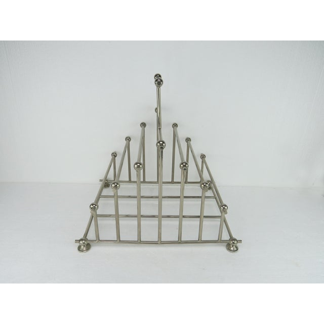1970s Art Deco Inspired Architectural Chrome Magazine Holder/Rack For Sale In Chicago - Image 6 of 10