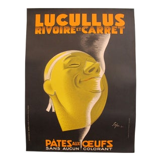 1931 Original French Pasta Advertisement Poster, Lucullus