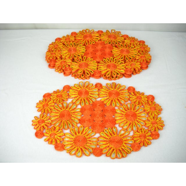 1970s Floral Raffia Placemats - Set of 4 - Image 2 of 9