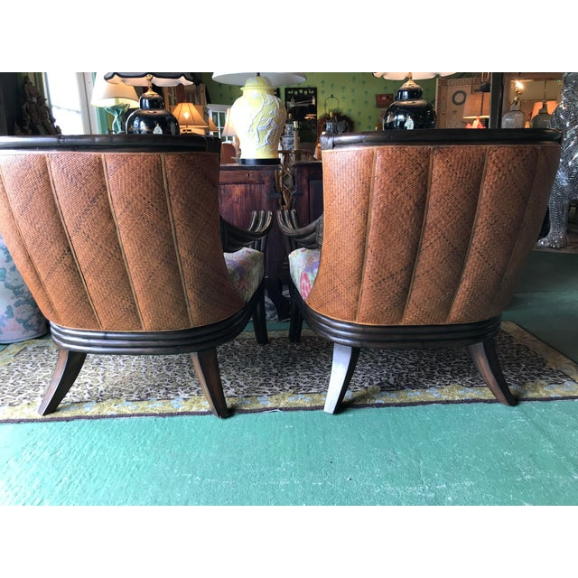 1990s Palecek Rattan and Woven Wicker Pair Chairs and Ottoman For Sale - Image 5 of 13