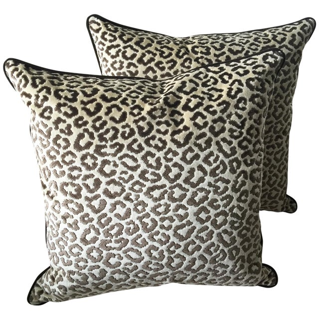 Lee Jofa High End Leopard Velvet Pillows - A Pair - Image 1 of 7