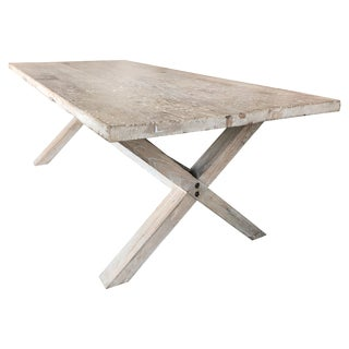 Asian Antique Organic Farm Table in Bleached Poplar Wood, 19th Century For Sale
