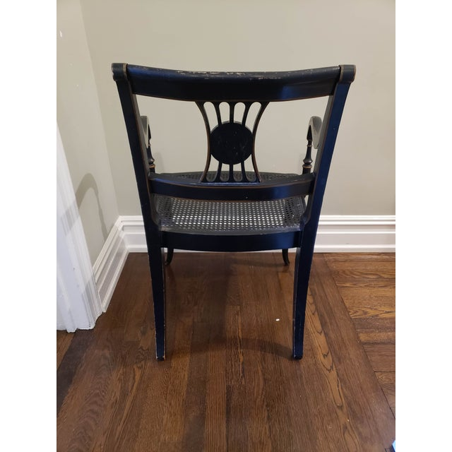 1920s Vintage Regency Style Black and Gold Arm Chairs- A Pair For Sale - Image 4 of 7