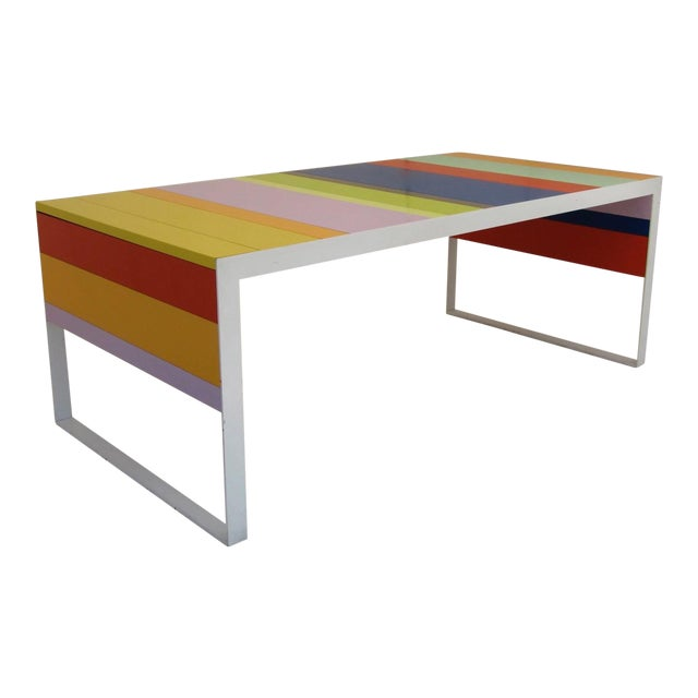 Lacquer Memphis Modern Style Multi Color Table Desk For Sale - Image 7 of 7