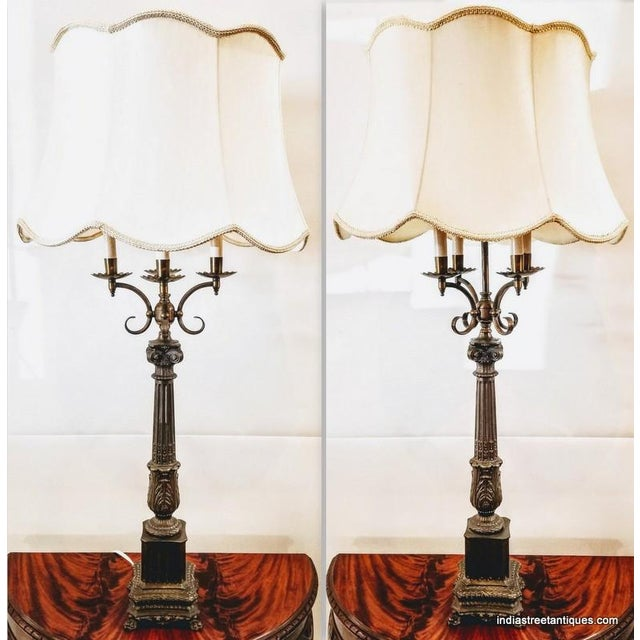 1920s Pair Vintage 1920s French Empire Style Candelabra Table Lamps For Sale - Image 5 of 10