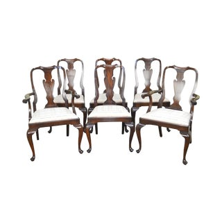 Henkel Harris Solid Mahogany Set of 6 Queen Anne Style Dining Chairs