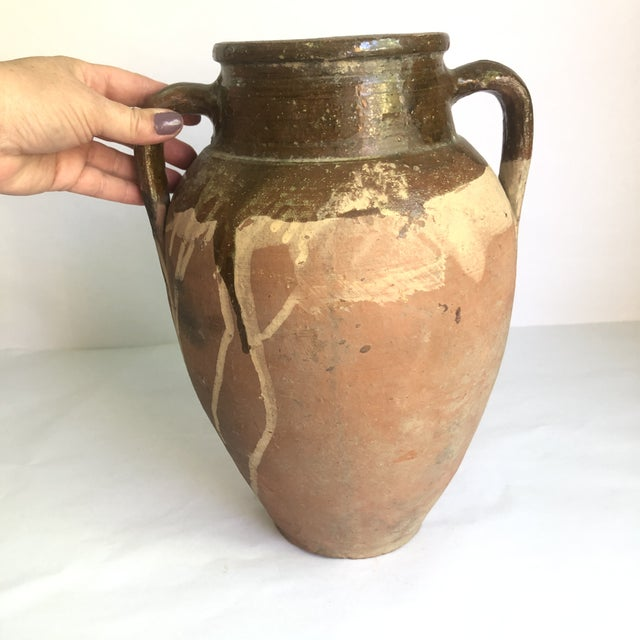 Islamic Vintage Turkish Natural Terracotta Jar With Brown Glaze For Sale - Image 3 of 13
