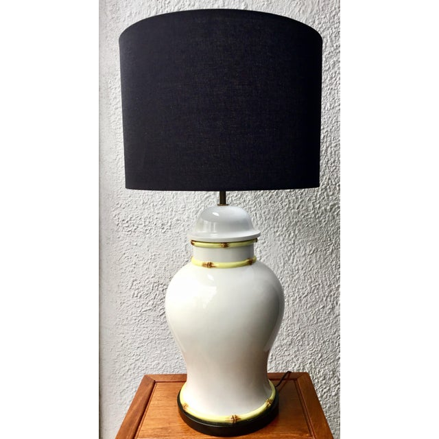 1970s Large Porcelain Bamboo Detailed Temple Urn Lamp For Sale - Image 12 of 12