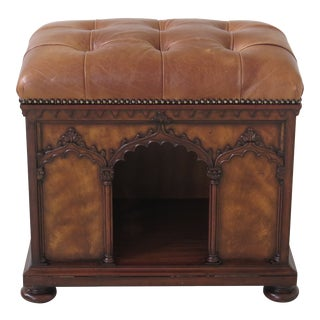 Maitland Smith Tufted Leather Top Pet Cat House For Sale