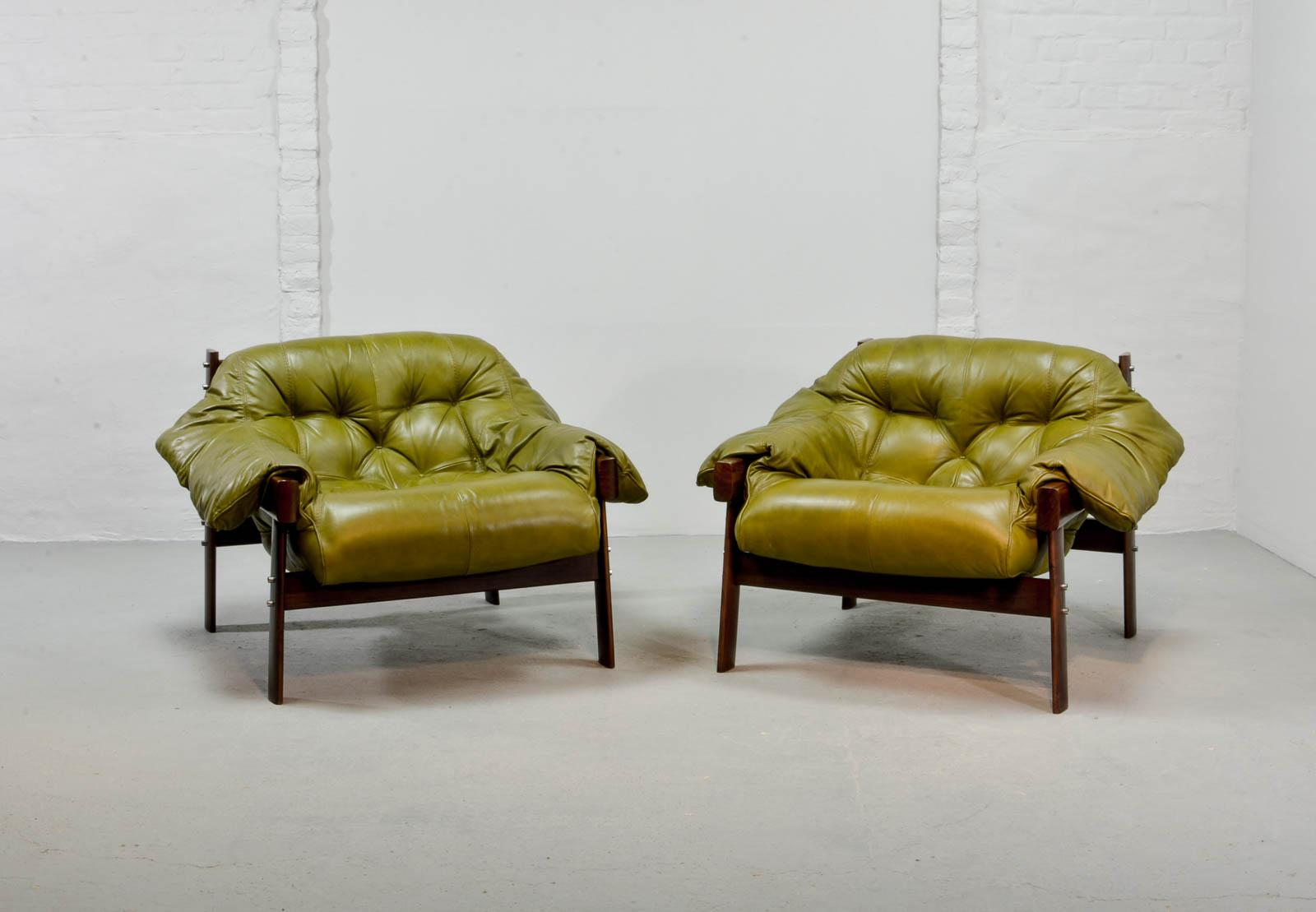 Beautiful Set Of Olive Green Leather Lounge Chairs With Ottoman By Percival  Lafer, 1960s