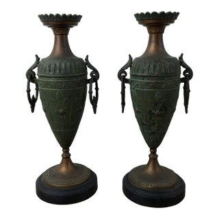 1920s Vintage French Art Nouveau Urn Candleholders - a Pair For Sale