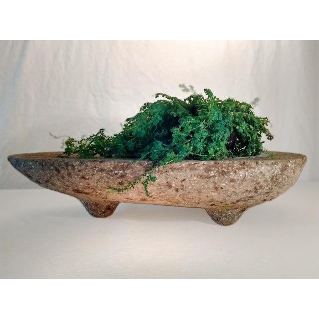 This avocado shaped three footed hypertufa planter has been thoroughly weathered and is ready for your creative planting....