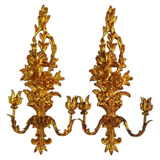 Pair of Italian Palladio Carved Gilt Wood Louis XV Style Two-Arm Wall Sconces For Sale