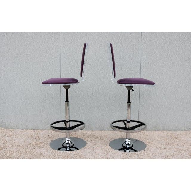 Shlomi Haziza Purple Suede & Acrylic Shlomi Haziza Barstools - A Pair For Sale - Image 4 of 13