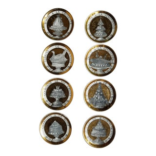 "1960's Piero Fornasetti Black and Gold Coasters ""Pranzo Alle Otto"" - Set of 8"