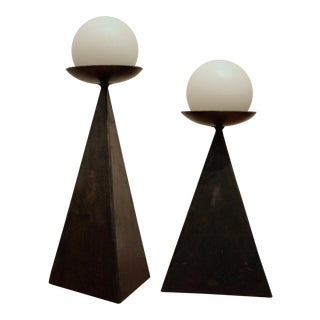Geometric Welded Steel Triangular Candle Holders, Set of 2 For Sale