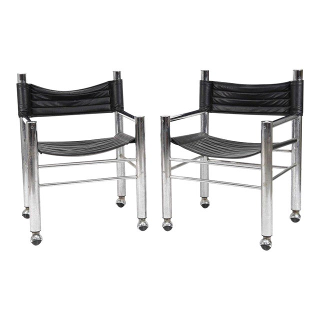 Chrome Leather Chairs - Pair - Image 1 of 6