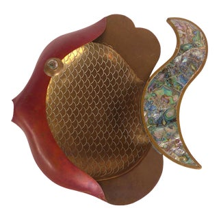 Mexican Modernism Mixed Metal Fish W/ Abalone Shell, Copper & Brass For Sale