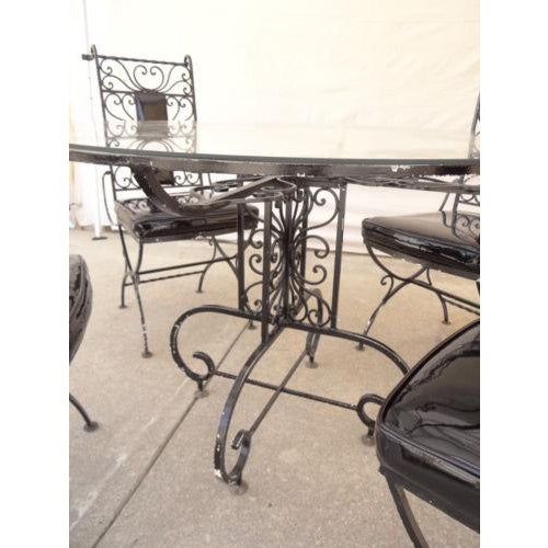 1970s Vintage Regency Iron Patio Dining Set For Sale - Image 5 of 13