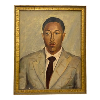 Vintage Oil Portrait of a Young African American Man Bearing Signature Laura Waring For Sale