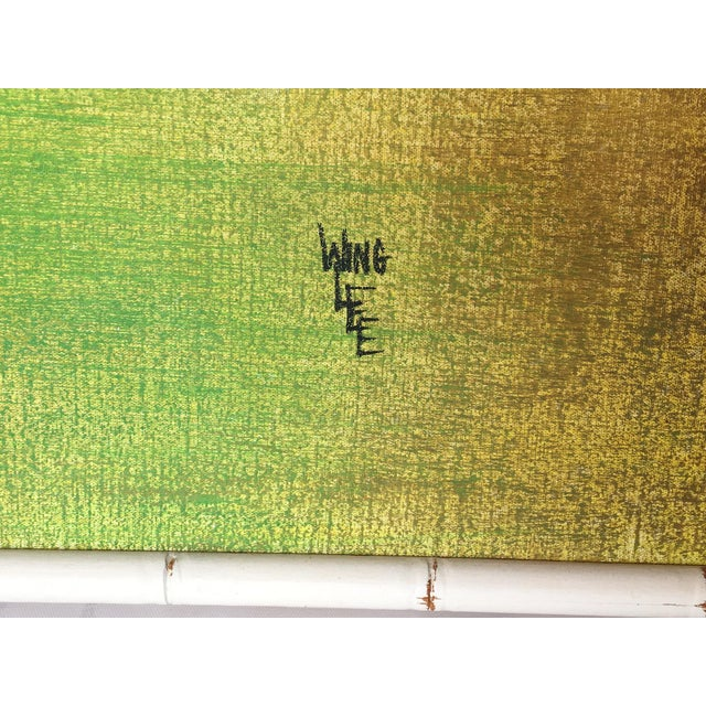 Mid-Century Modern Large Framed Wing Lee Mid-Century Asian Bamboo Painting For Sale - Image 3 of 7