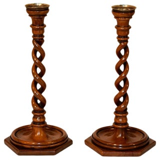 Pair of 19th Century Walnut Open Twist Candlesticks For Sale
