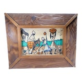 Image of Vintage Mid-Century Framed Haitian Harvesting Scene Watercolor Painting For Sale