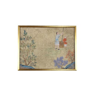 Vintage Framed Chinoiserie Hand-Painted Wallpaper Remnant For Sale