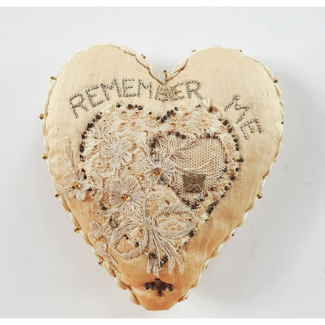 Metal Antique Sweetheart Remember Me Pincusion For Sale - Image 7 of 7