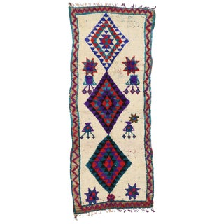 """Vintage Berber Moroccan Azilal Tribal Style Shag Hallway Runner - 3'5"""" X 8'3"""" For Sale"""