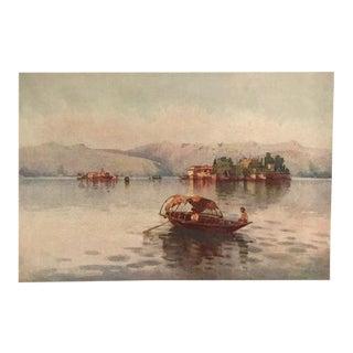 1905 Original Italian Print - Italian Travel Colour Plate - a Summer Evening, Lago Maggiore For Sale