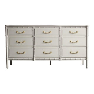20th Century Hollywood Regency Faux Bamboo Warm Gray Lowboy Dresser For Sale
