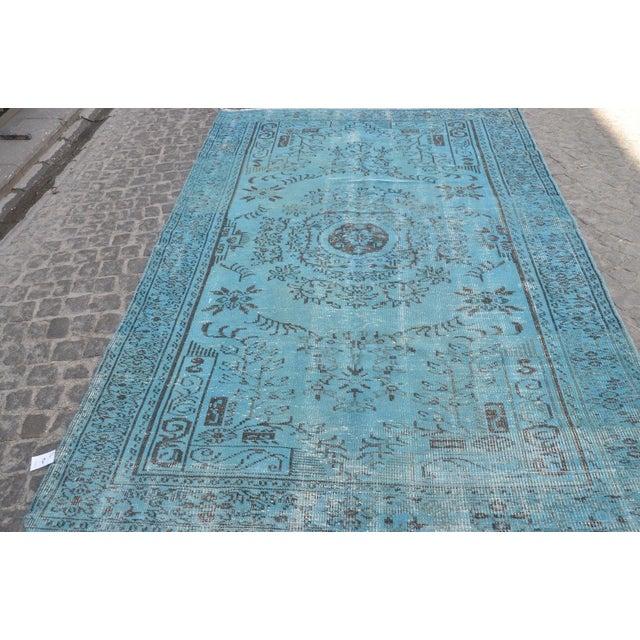 """Turkish Oushak Turquoise Rug - 6' x 8'9"""" - Image 3 of 6"""
