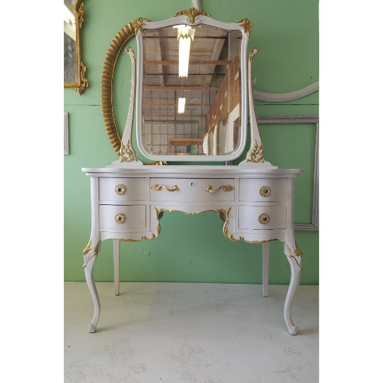 Antique White Makeup Vanity With Mirror & Chair - Image 2 of 5