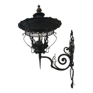 Mid 20th Century Black Wrought Iron Lantern For Sale