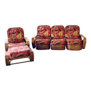 Paul Frankl Pretzel Rattan Sofa + Chair and Ottoman For Sale
