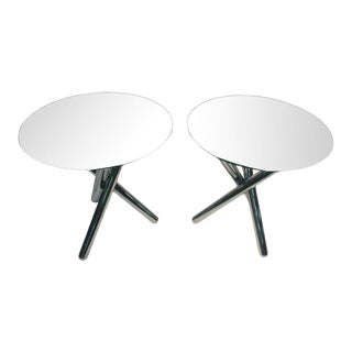 1970s Pair of Tripod Base Chrome Tables For Sale