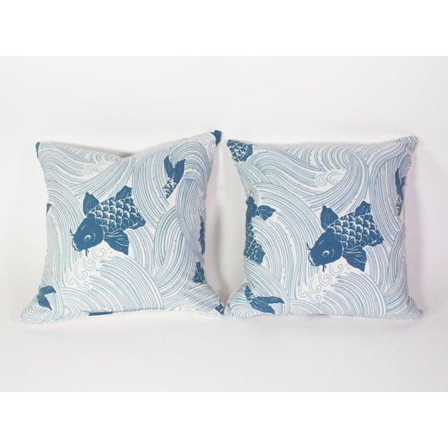 "Japanese Jeffrey Allen Marks Custom Made Designer Tropical Koi Pillow Pair - 18""x18"" For Sale - Image 3 of 7"