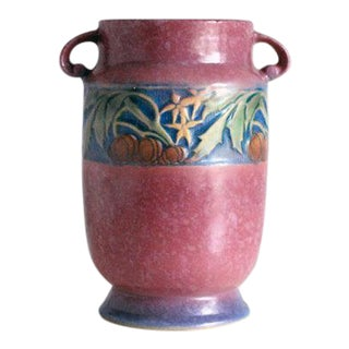 1930s Roseville Pottery Pink Baneda Vase 610-7 For Sale